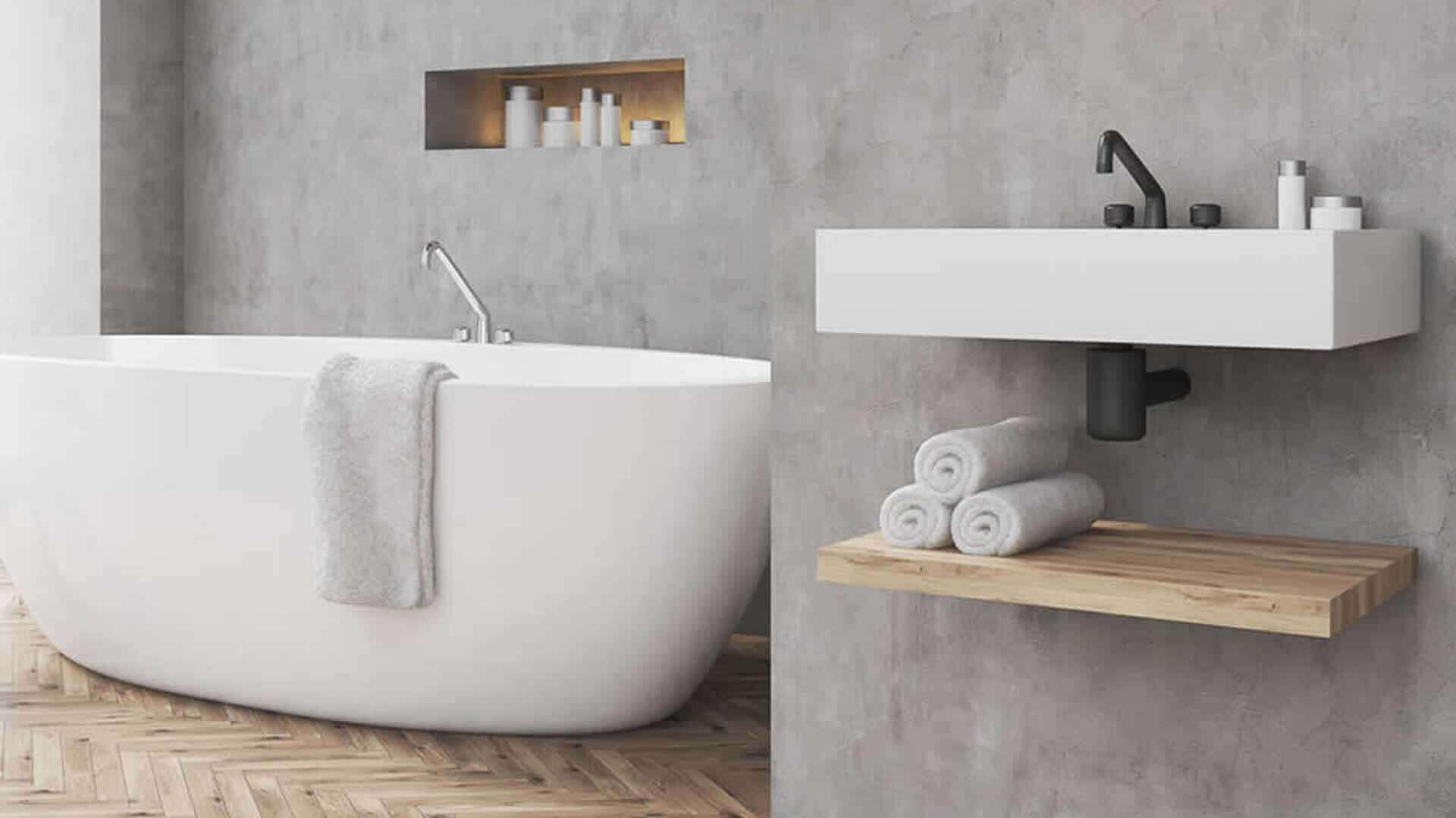 beton cire badkamer - hout elementen